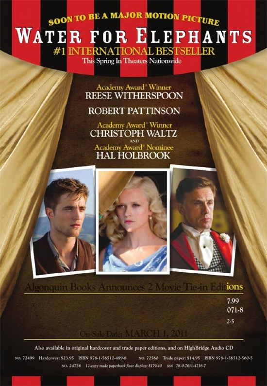постер Вода для слонов,Water for Elephants